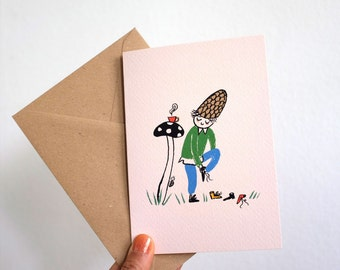 Scandinavian Gnome with Coffee and Shoes / Greeting card