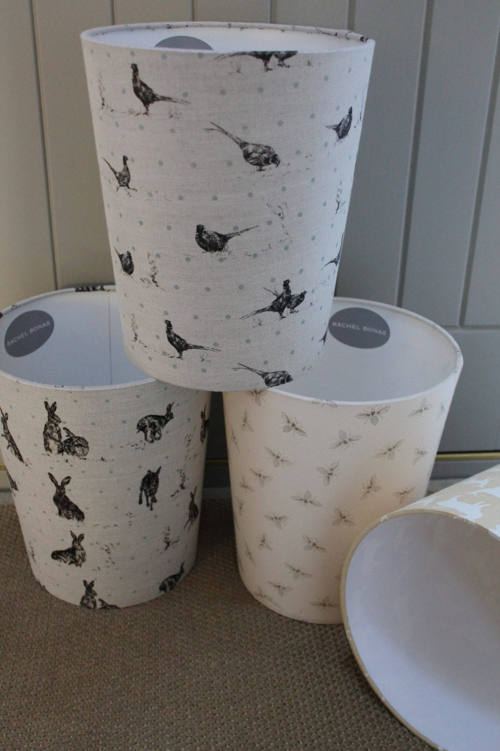 All Fabric Covered Waste Paper Bins By Rachel Bonas