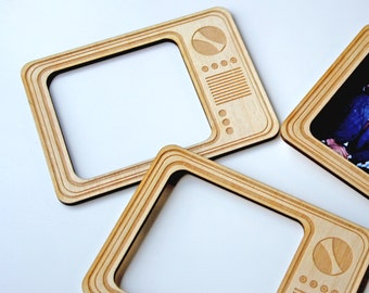 Set of Two Retro TV Magnetic, Wooden Photo Frames. Refrigerator Magnet.
