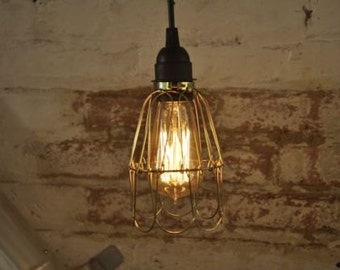 Bulb Guard Lamp Light Made Of Brass Cage Pendant Hanging Vintage Cage