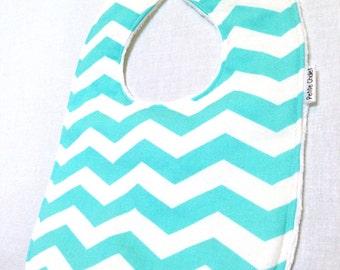 Personalized Baby Bib - Modern Baby Bib - Aqua and White Chevron Bib - Chevron Bib - Gender Neutral Baby Bib - White Minky Fabric- Handmade