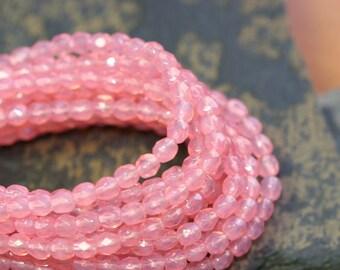 4mm Pink (Rose Opal) 7 inch Strand Czech Beads fire polish