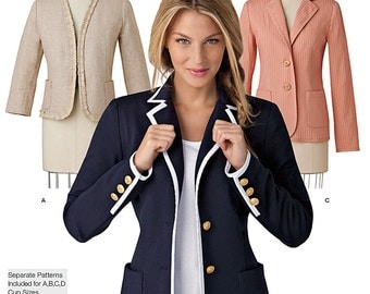 Simplicity Pattern 1421 Misses' Unlined Jacket with or Without Collar