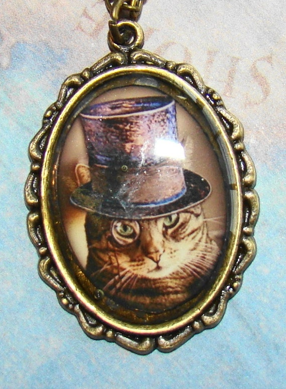 Dapper tiger cat in a hat pendant and chain bald eagle for Cat in the hat jewelry