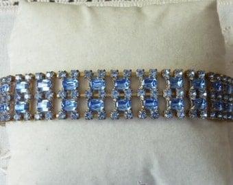 1950  blue  rhinestones bracelet