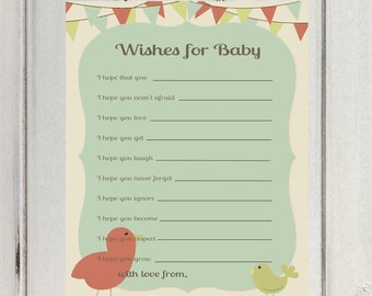 Wishes for Baby Printable, Baby Shower Printable, Flags Wishes for Baby, Neutral Wishes for Baby, Bird Wishes for Baby INSTANT DOWNLOAD