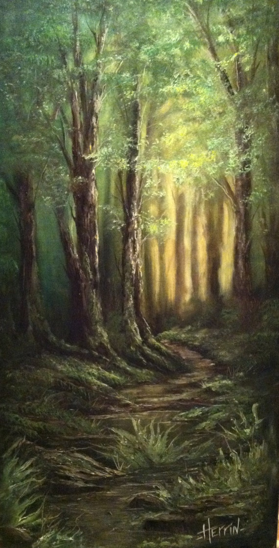 Forest Painting Original Landscape Dark Forest Scene