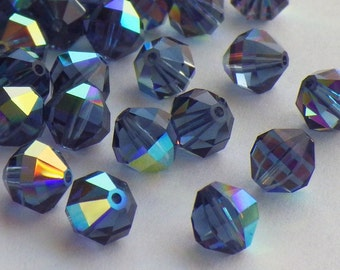20 Rare Vintage Swarovski Crystal Beads, 6mm Article 5004, Montana Blue With Aurore Boreale Finish