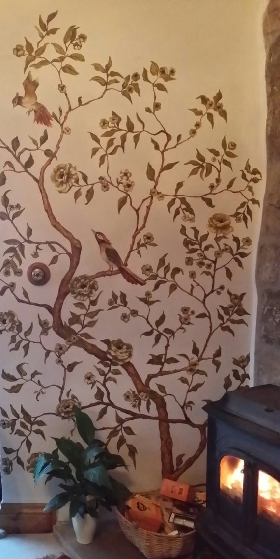 Chinoiserie inspired mural wallpaper hand by hodgiepodgies for Chinoiserie mural wallpaper