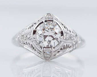 Antique Engagement Ring Art Deco 1.12cttw Old European Cut Diamond in Platinum