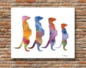 Meerkats Watercolor - Abstract Painting - Wall Decor