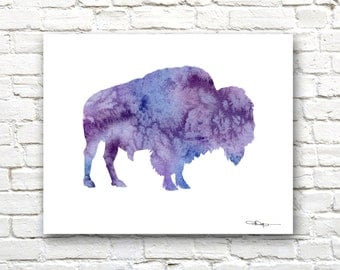Buffalo Art Print - Abstract Bison Watercolor Painting - Wall Decor