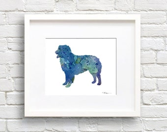 Australian Shepherd Art Print - Abstract Watercolor Painting - Wall Decor