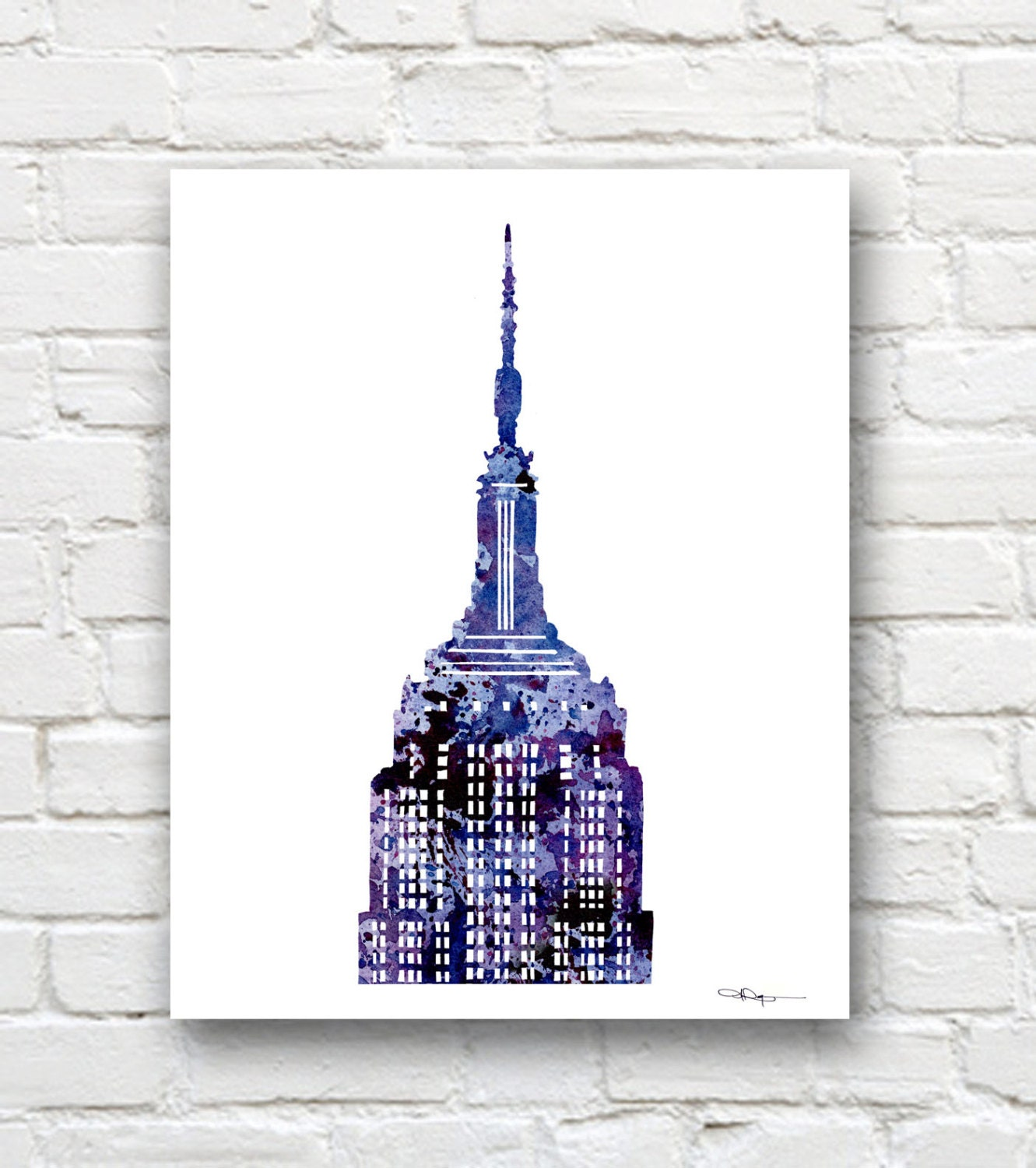 Empire State Building Art Print Abstract Watercolor New York
