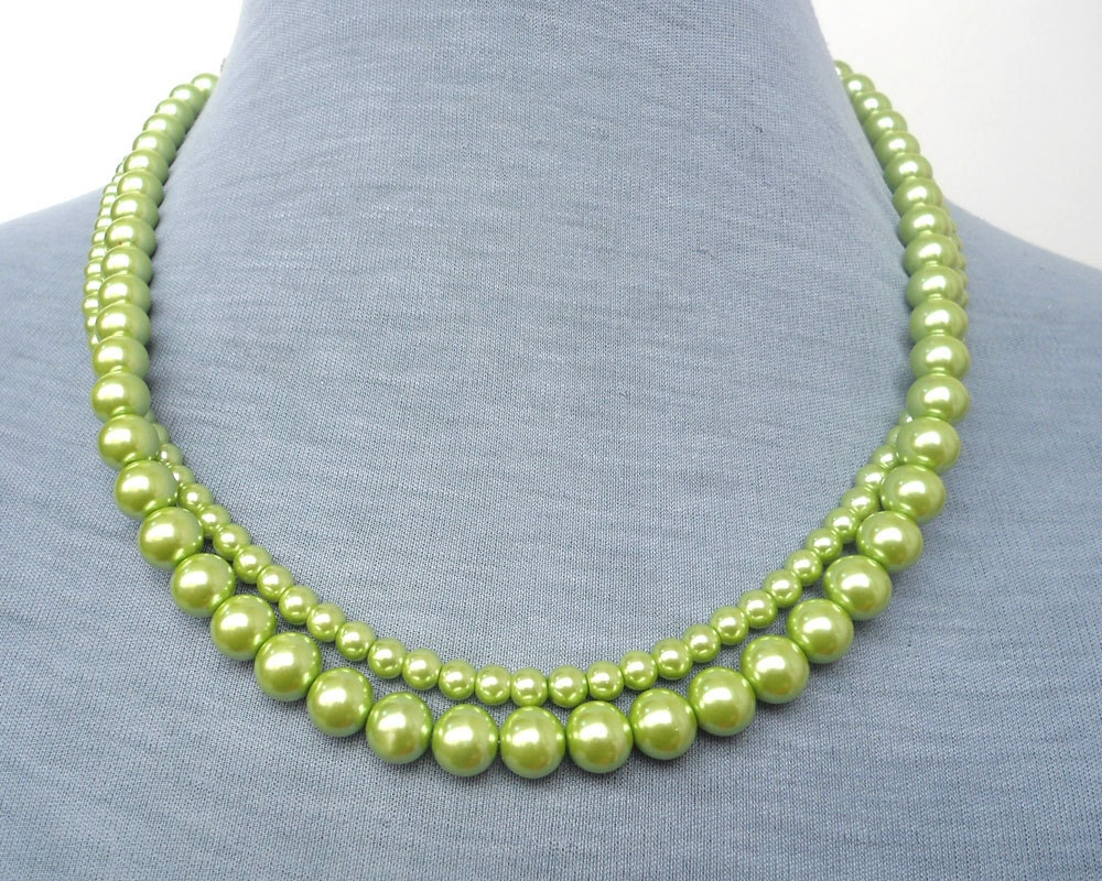 green pearl necklace pearl necklaceglass pearl necklace2