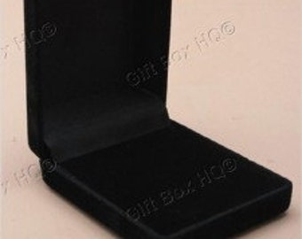 6 x New Black Flocked Velvet Jewellery Gift Boxes