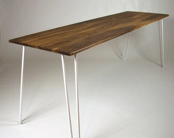 Dining Table, Hairpin Legs, in Walnut, Industrial table,  Eames, Mid-century,