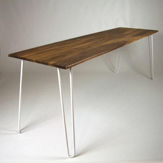 Hairpin leg dining table in walnut industrial table eames for One leg dining table