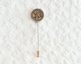 Vintage Windmill Button Stick Pin Copper Brass