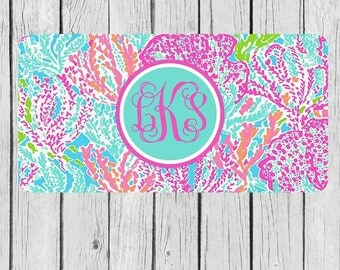 Front License Plate Lily Pulitzer Inspired License Plate Monogram Personlized Car Tag Pink Lily Logo Flower Personalized Plate