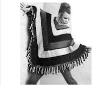 Crochet Pattern, Instant download, Women's Poncho, 1970s pattern, Hippie crochet poncho, Adult poncho pattern, Nursing cover up idea