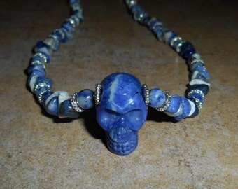 Sodalite Crystal Skull Necklace