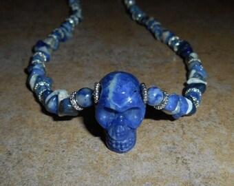 Sodalite Crystal Skull Necklace