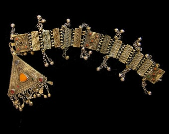 Tribal silver amulet pendant on jacket closure jewelry,  Pakistan 18 x 3 1/2 ""