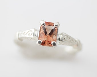 Oregon Sunstone Ring in Sterling Silver, Vintage Inspired Band with Beautiful Red Orange Stone