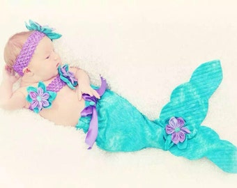 Mermaid outfit for infant photo shoot
