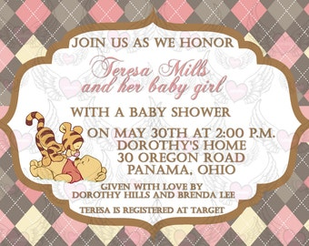 Baby Shower Argyle Winnie the Pooh Pink or Blue Boy Girl Announcement Invitation Digital File Only