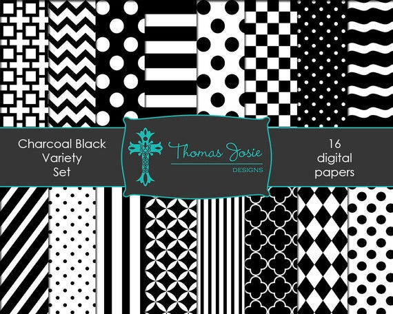 Black and White Paper Digital Backgrounds Striped Digital Polka Dot Digital Chevron Digital Quatrefoil Pattern 8.5 x 11 - Instant Download