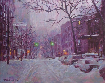 Brooklyn Heights, Winter, - fine art giclée print of an original Impressionist painting by Robert Padovano