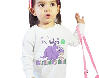 Birthday Girl Shirt personalized 2 Year old Dino girl shirt or Baby Bodysuit