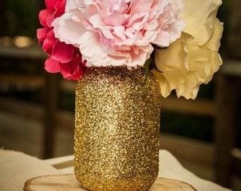 Set of 10 gold glitter mason jars