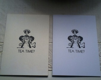 Tea Time? Letterpress Card - White or Ivory