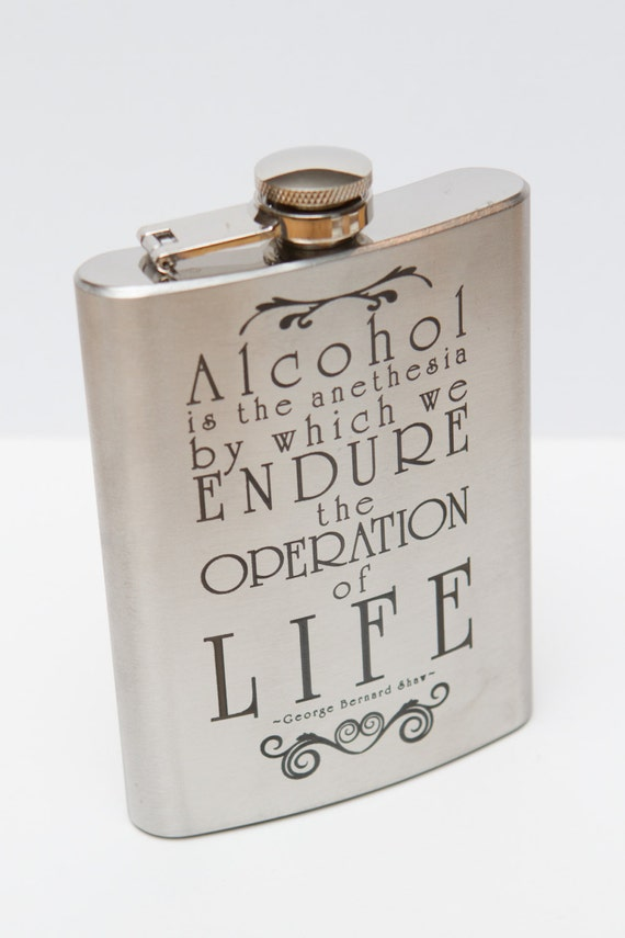 George Bernard Shaw quote laser engraved flask