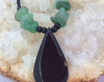 Onyx and Jade Vintage Necklace
