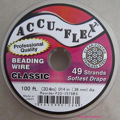 100 accu flex clear coated steel beading jewelry wire 49
