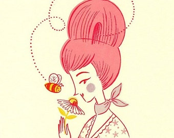 Retro Bee Print Pink Beehive Girl Woman Gocco Screenprint Honey Bee Flower Nursery Art Print