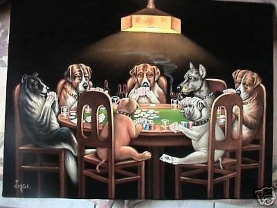 Dogs Playing Poker Black Velvet Original Oil Painting Hand