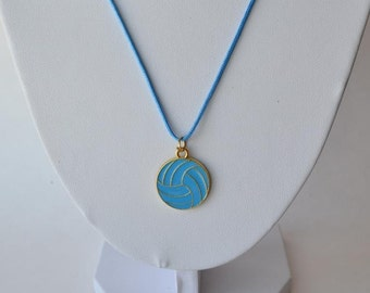 Light Blue Volleyball necklace with gold plated light blue enamel volleyball charm on nylon cord