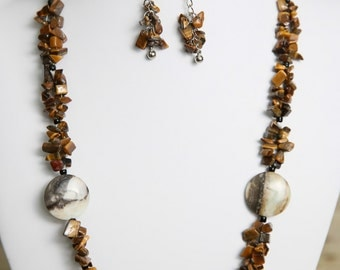 Tiger Eye and Amazonite Gemstone Necklace and Earrings - Bead Jewelry Set - Gemstone Beads