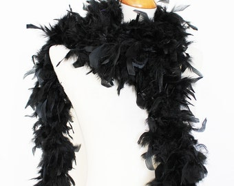 "65g, 72"" black chandelle feather boa for dancing, crafting, decoration, wedding, etc. SKU: 8A31"