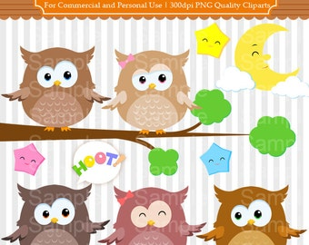 Owl Clipart Set - Owls Clipart For Personal and Commercial Use