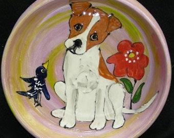 Hand Painted Ceramic Pet Bowl - Terrier