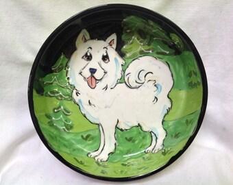 Hand Painted Samoyed Ceramic Dog Bowl