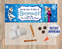 Do You Want To Build a Snowman? Frozen Favor Bag Toppers - Disney Frozen Birthday Printable for Party Treat Candy. Frozen Birthday Supplies.