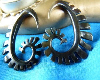 Horn Hanging Tribal Earrings (Pair)-  5mm / 4 Gauged Horn - Handcrafted 5 mm Organic Horn Stretch Earring *B005
