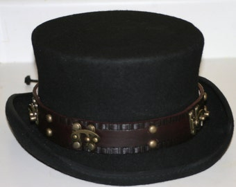 Adjustable Leather STEAMPUNK HAT BAND With Swing Bag Clasps